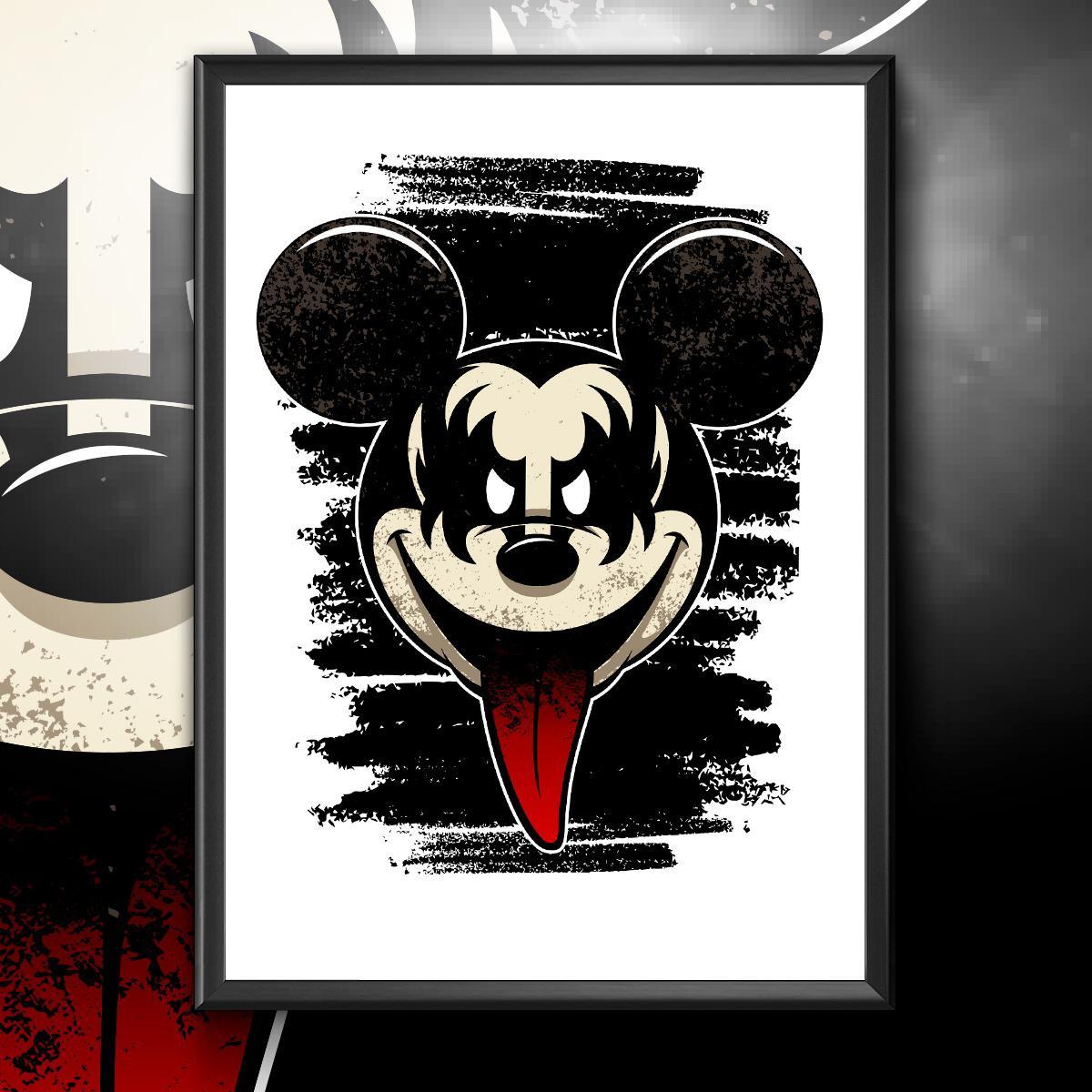 """Quadro Com Moldura: """"Kiss"""": Mickey Mouse - 46x33"""