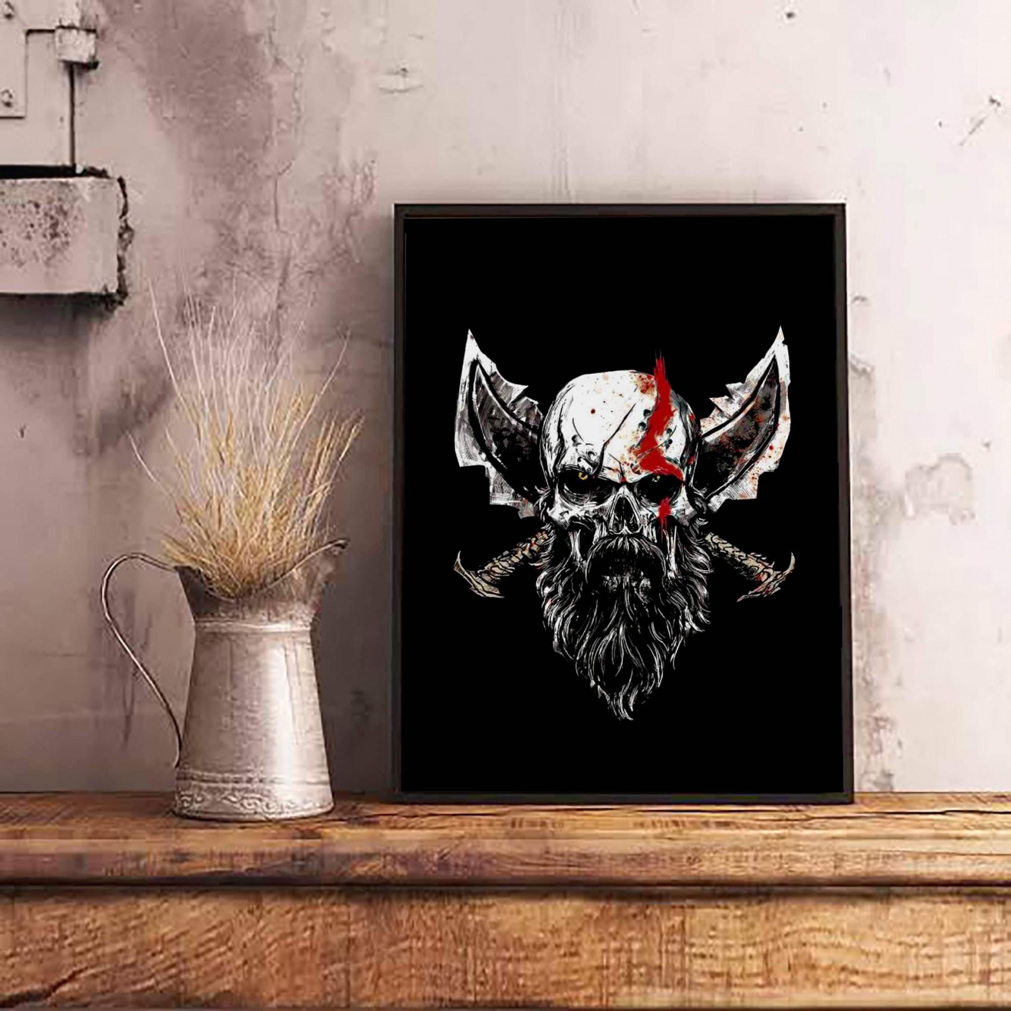 Quadro Com Moldura: Kratos: God of War - 46x33 - EV