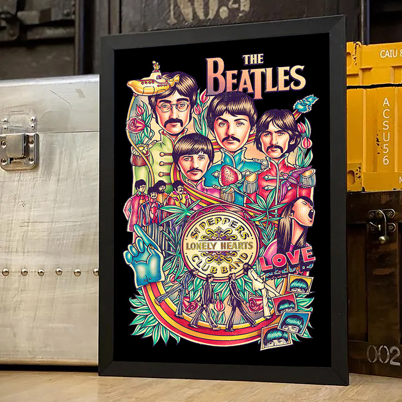 Quadro Com Moldura Legends The Beatles Peppers Lonely Hearts Club Band Love - 33x46 - EV