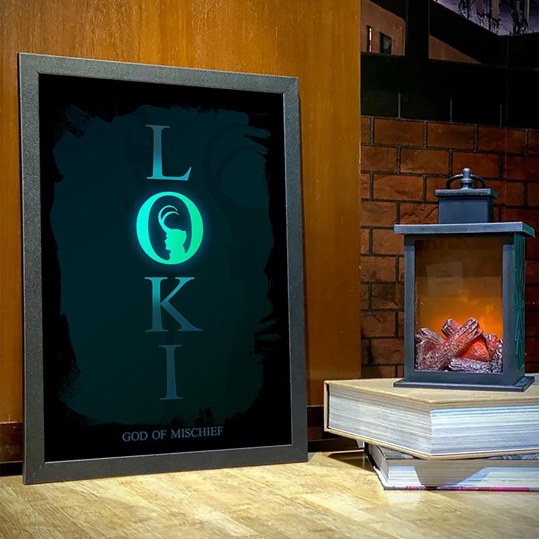 Quadro Com Moldura Loki The God Of Mischief O Deus Da Travessura Marvel Disney+ - 33x46 - EV