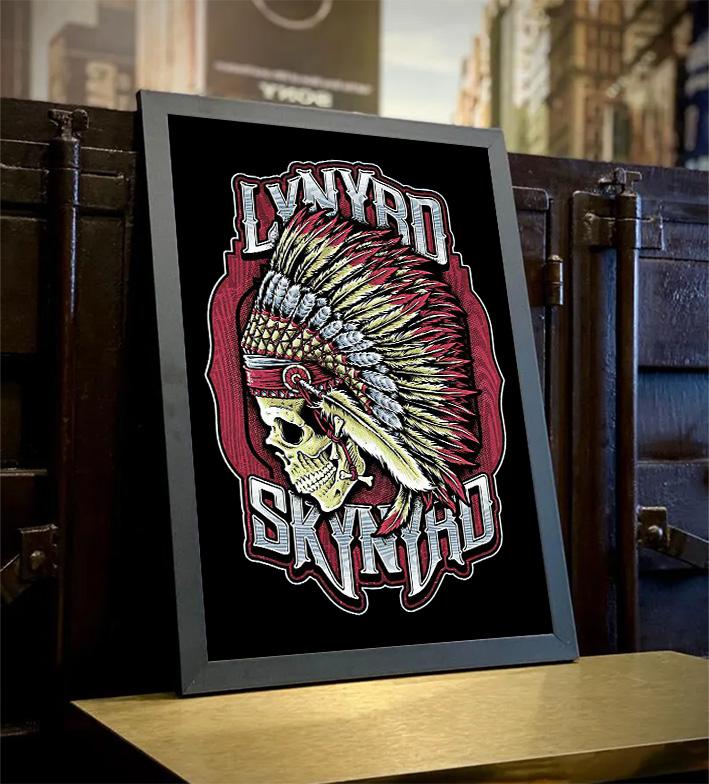 Quadro Com Moldura Lynyrd Skynyrd American Rock Band Skull - 46x33 - EV