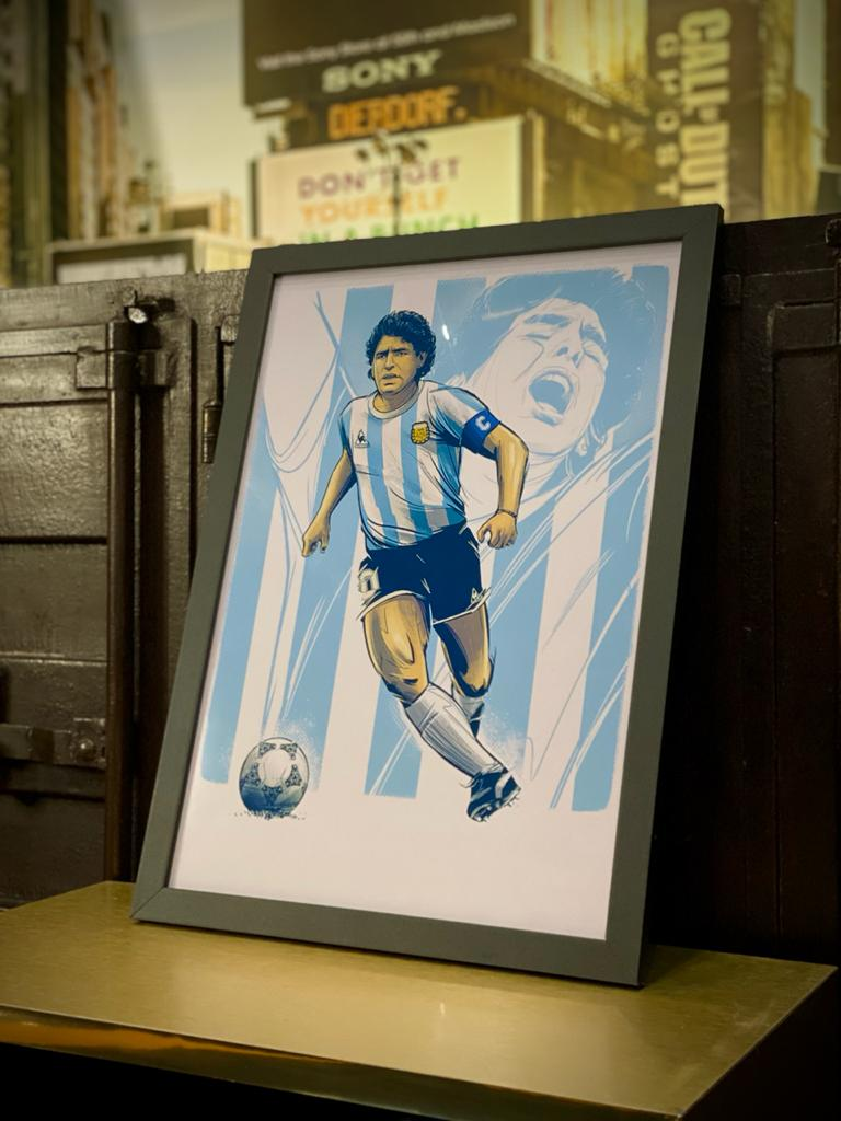 Quadro Com Moldura: Maradona - 46x33 - EV