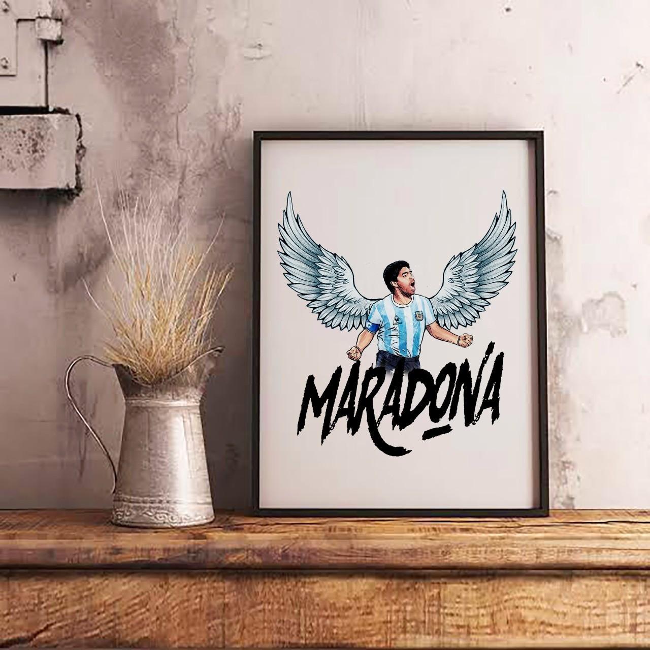 Quadro Com Moldura: Maradona Com Asas - 46x33 - EV