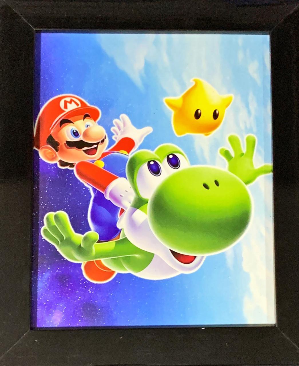Quadro com Moldura Mario e Yoshi: Super Mario Galaxy - 24x29