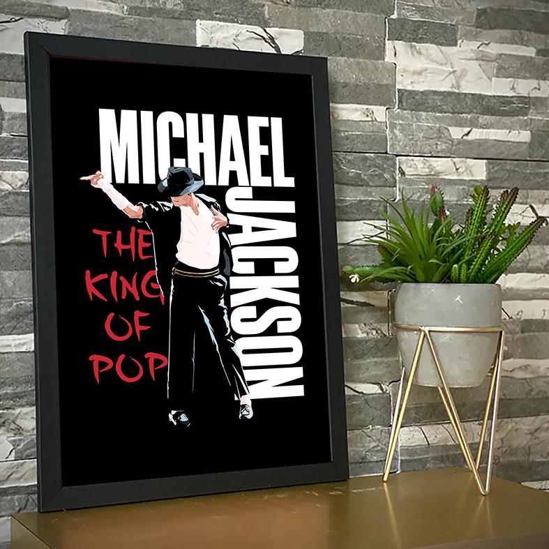 Quadro Com Moldura Michael Jackson King Of Pop Dance Pose Rei Do Pop - 33x46 - EV
