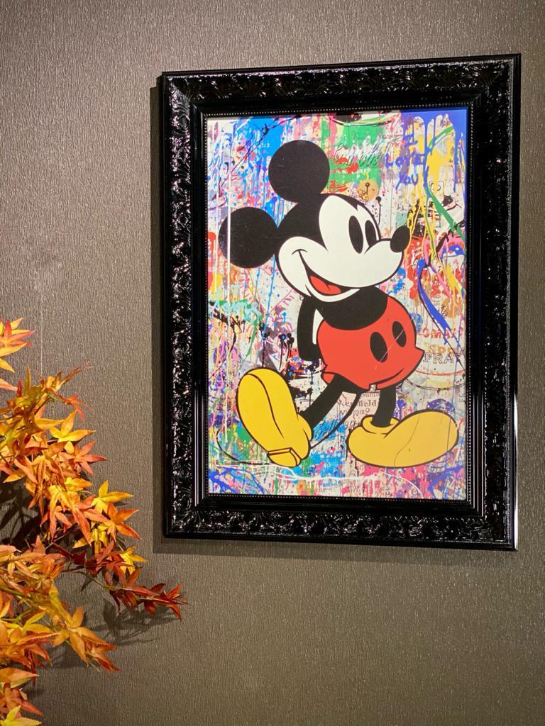 Quadro Com Moldura: Mickey Desenho - 77x57