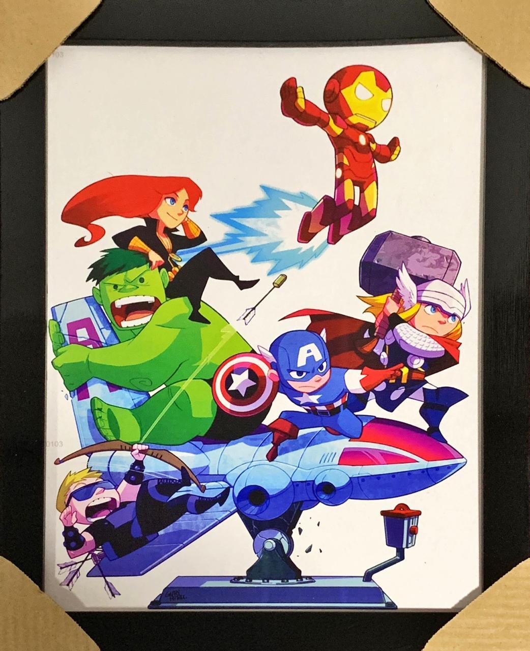Quadro com Moldura Mini Avengers (Vingadores)