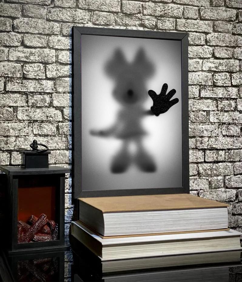 Quadro Com Moldura Minnie E Mickey Mouse Desaparecimento Raio X Biombo Disney - 33x46 - EV