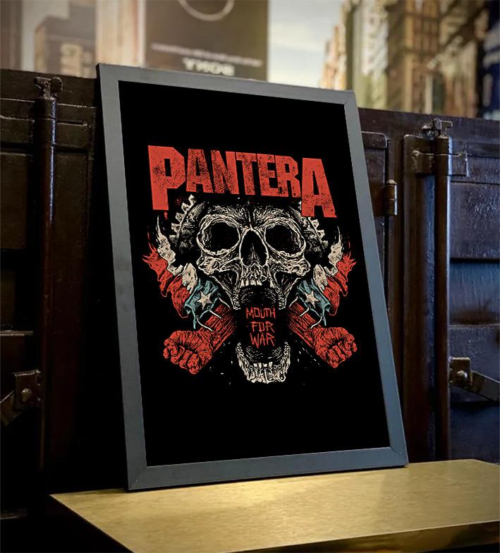 Quadro Com Moldura Mouth For War Rock And Roll: Pantera - 46x33 - EV