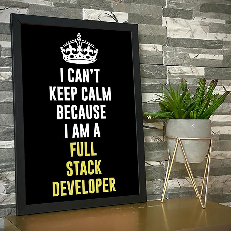 Quadro com Moldura Não Consigo Manter A Calma Porque Sou Um Desenvolvedor Full Stack I Can't Keep Calm Because I Am A Full Stack Developer - 46x33 - EV