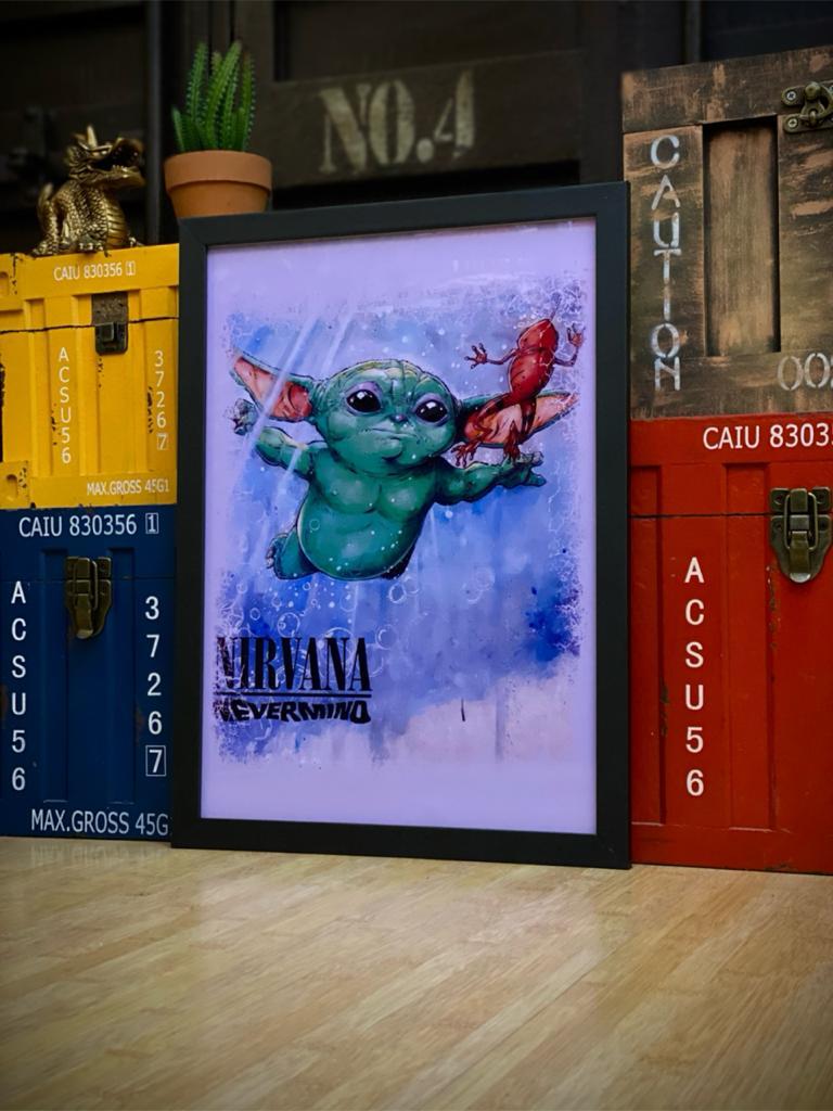 Quadro Com Moldura Nirvana Nevermind - 46x33