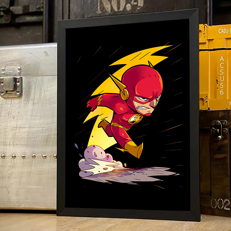 Quadro Com Moldura O Flash The Flash DC Comics Animação Cartoon - 33x46 - EV