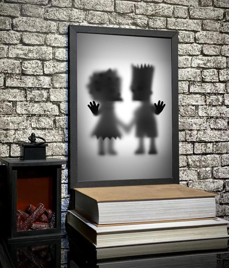 Quadro Com Moldura Os Simpsons Bart e Lisa Desaparecimento - 33x46 - EV