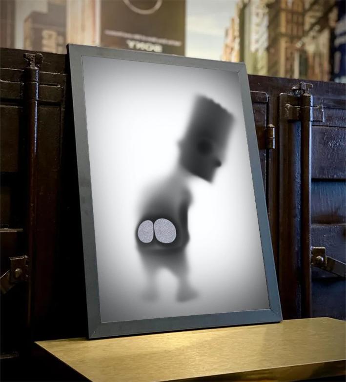 Quadro Com Moldura Os Simpsons Bart Mostrando A Bunda Desaparecimento Raio X Biombo - 33x46 - EV