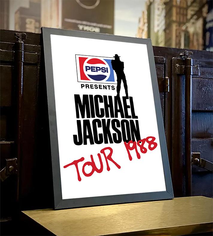 Quadro Com Moldura Pepsi Presents Michael Jackson Tour 1988 - 33x46 - EV