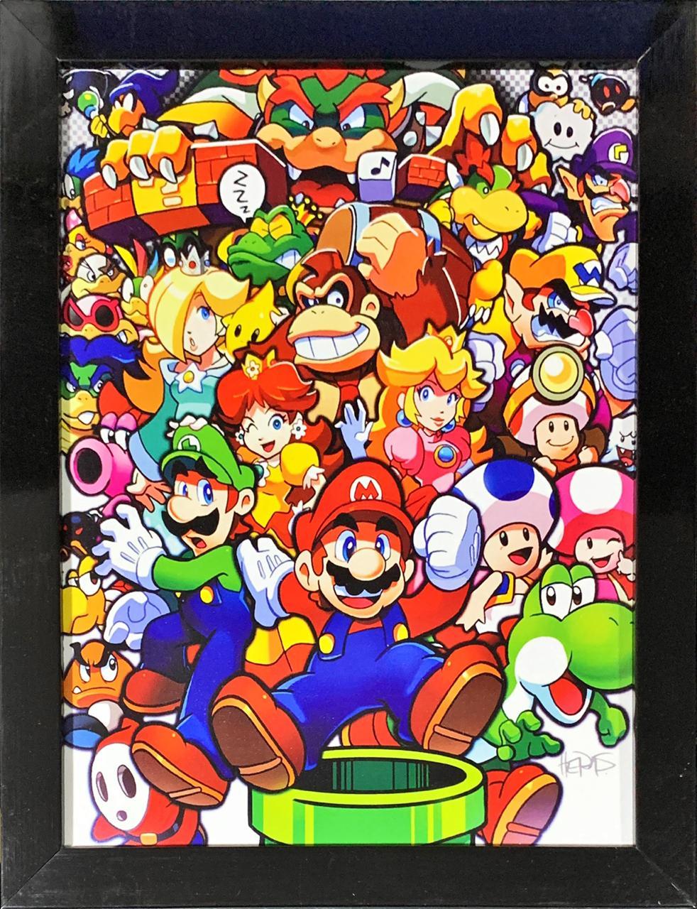 Quadro com Moldura Personagens Super Mario Bros. - 46x33