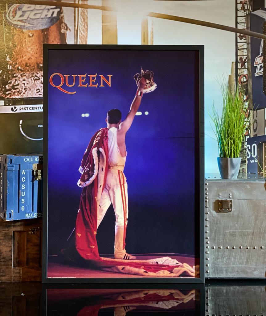 Quadro Com Moldura Poster Queen Freddie Mercury Com Coroa - Wallstreet