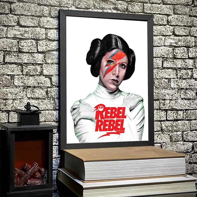 Quadro Com Moldura Princesa General Leia Bowie Organa Princess Rebel Rebelde David Bowie: Star Wars - 33x46 - EV