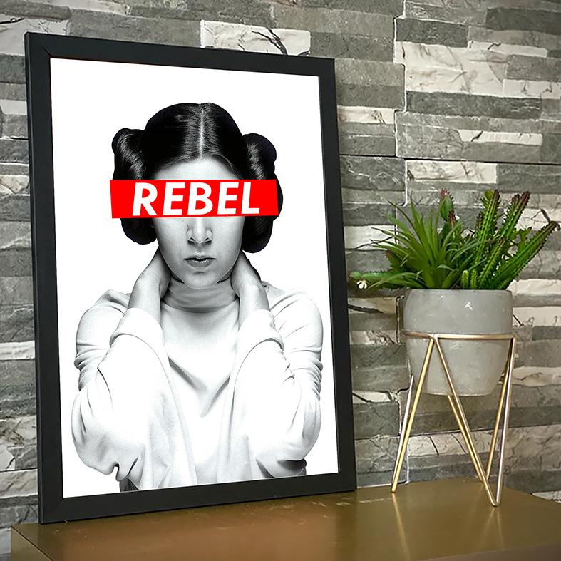 Quadro Com Moldura Princesa General Leia Organa Princess Rebel Rebelde: Star Wars - 33x46 - EV