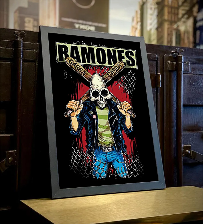 Quadro Com Moldura Ramones Punk Rock Queens - 46x33 - EV