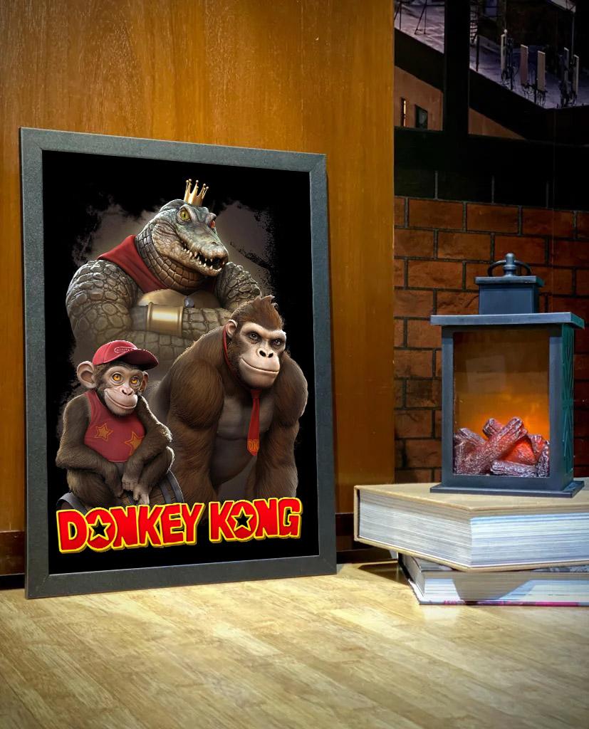 Quadro Com Moldura Realistic: Donkey Kong - 46x33 - EV