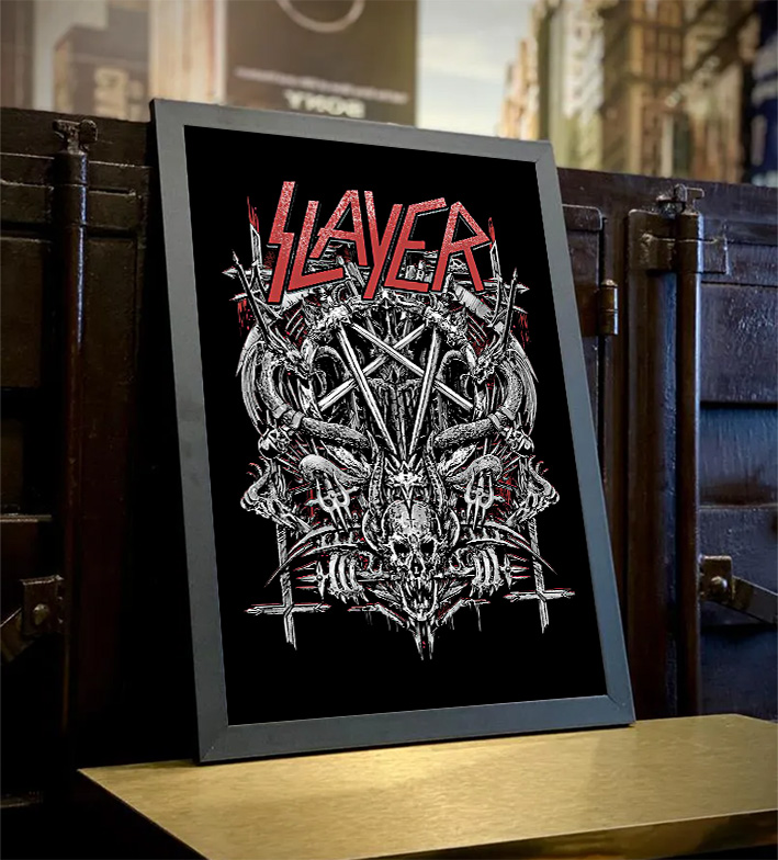 Quadro Com Moldura Slayer Metal Bands Skull - 46x33 - EV