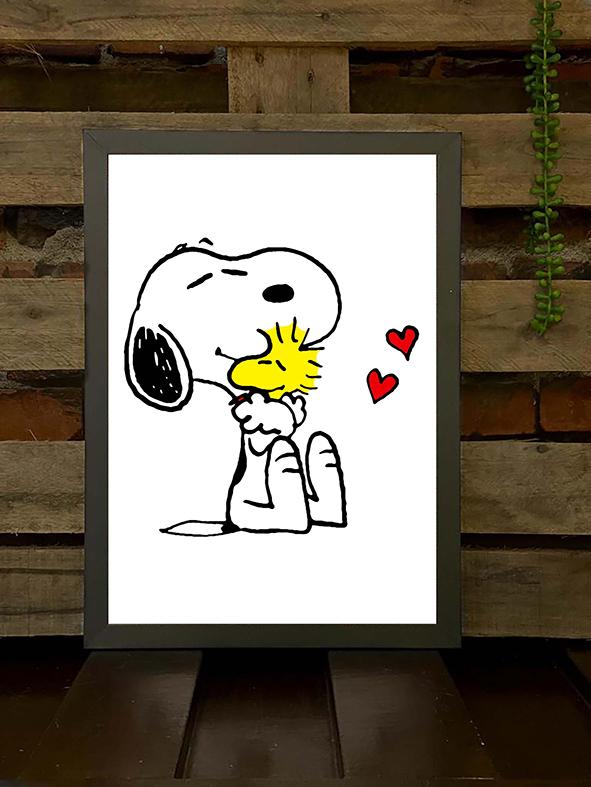Quadro com Moldura Snoopy E Woodstock Abraço Corações Pássaro Cachorro Bird Charlie Brown - 46x33