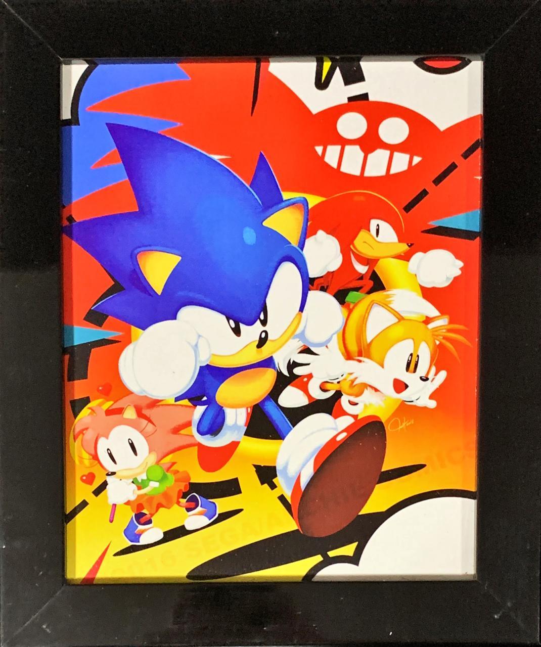 Quadro com Moldura Sonic (Personagens) - 24x29