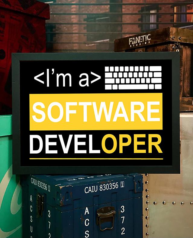 Quadro com Moldura Sou Um Desenvolvedor De Software I'm A Software Developer Dev - 46x33 - EV
