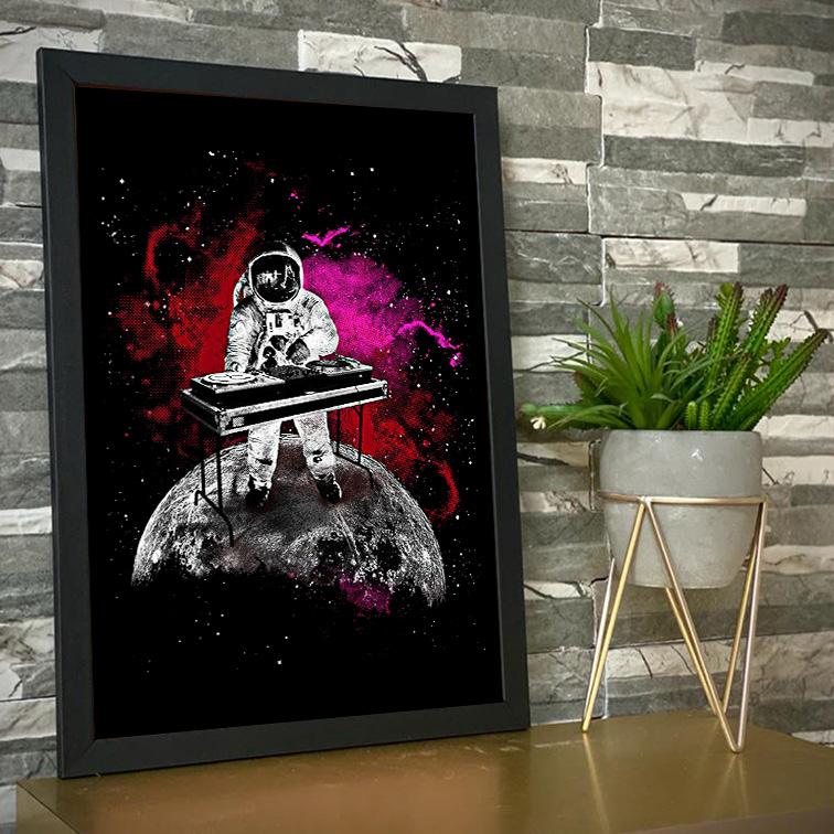 Quadro Com Moldura Space Nasa Galaxy Dj Astronauts Astronauta - 46x33 - EV