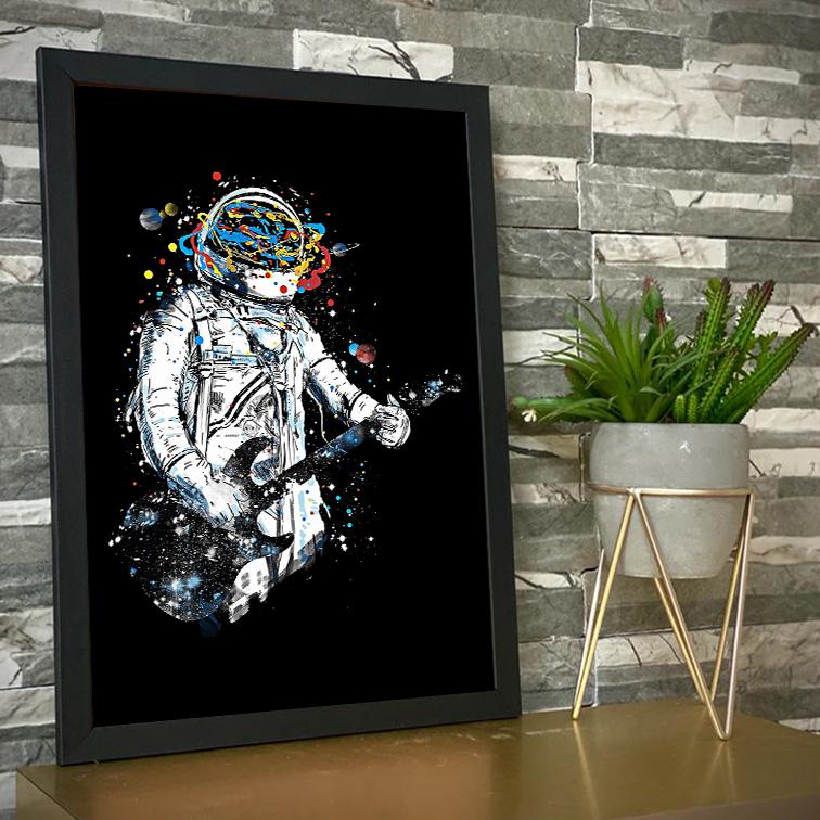 Quadro Com Moldura Space Nasa Guitar Music Astronauts Colors Astronauta - 46x33 - EV