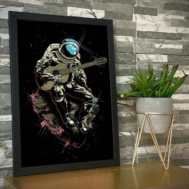 Quadro Com Moldura Space Nasa Guitar Music Song Astronauts Astronauta Violão - 46x33 - EV