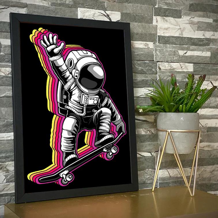 Quadro Com Moldura Space Nasa Skate Astronauts Astronauta - 46x33 - EV