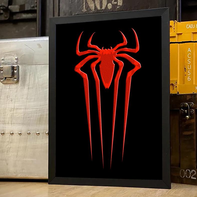Quadro Com Moldura Spider Man Logo Homem Aranha Marvel - 33x46 - EV
