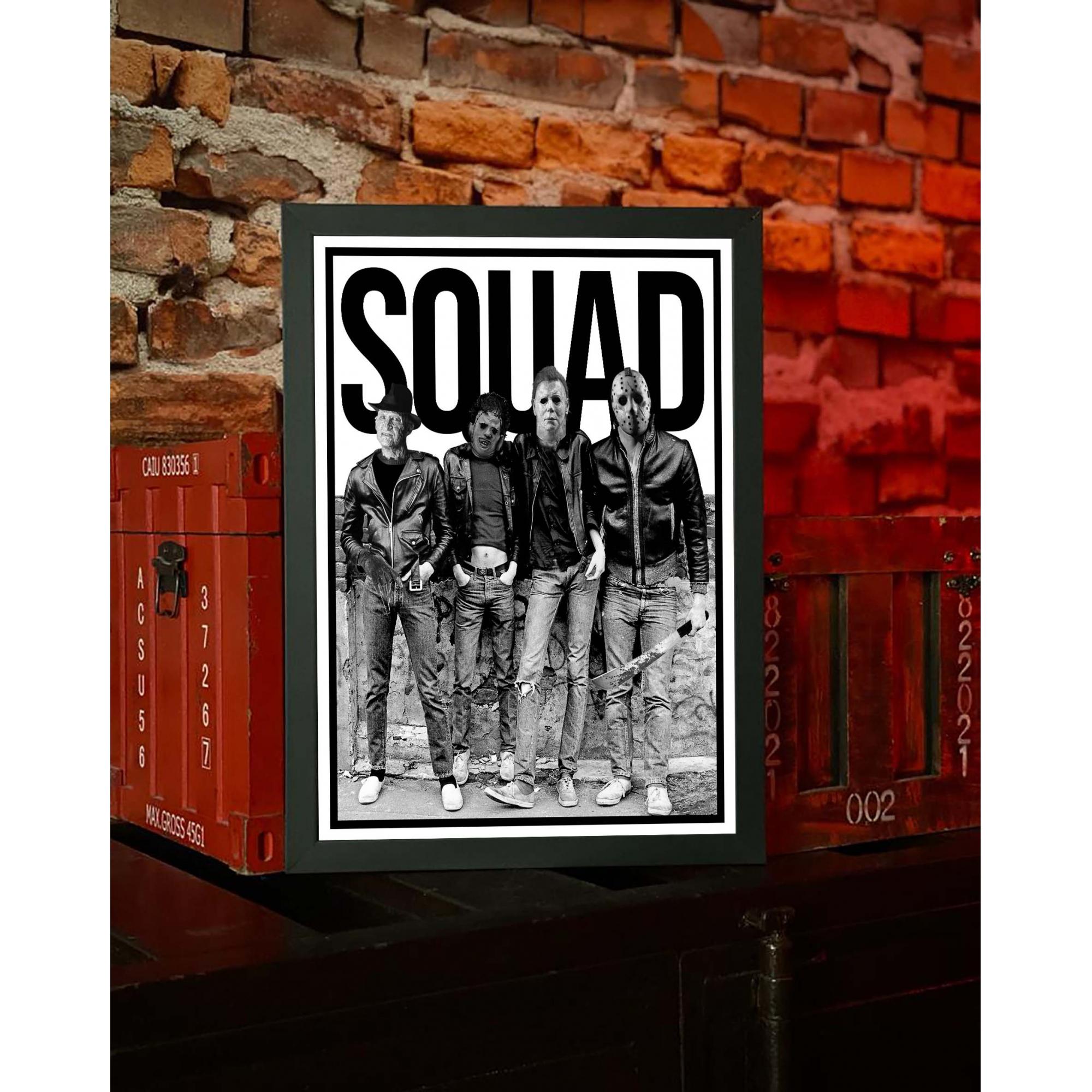 Quadro Com Moldura Squad Horror Freddy Krueger Michael Myers Leatherface Jason Voorhees Halloween Ramones - 46x33 - EV