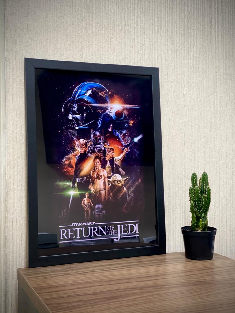 Quadro Com Moldura Star War Episodio 6 O Retorno De Jedi Return Of The Jedi - Cartaz - 46x33 - EV