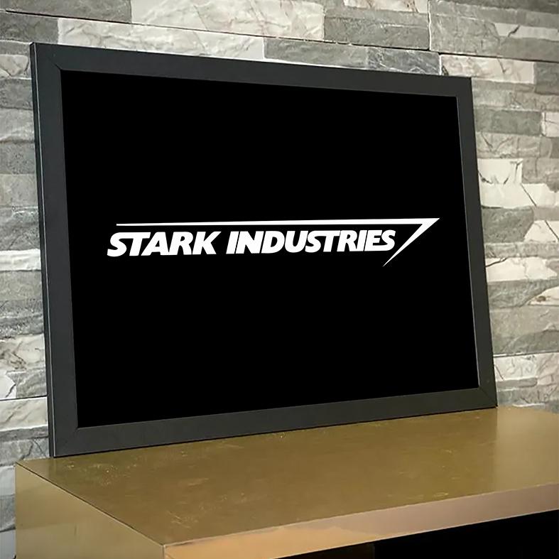 Quadro Com Moldura Stark Industries Iron Man Tony Stark Indústrias Homem De Ferro Vingadores - 33x46 - EV