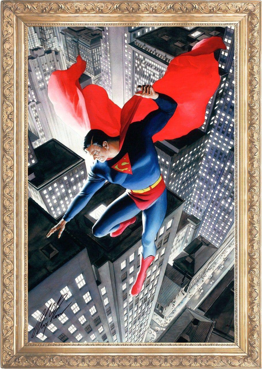Tela com Moldura (Quadro Canvas com Frame) Super-Homem (Superman) Alex Ross DC Comics (Art Premium)
