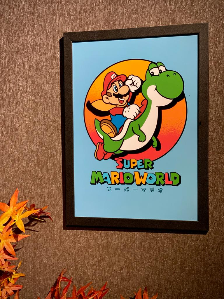 Quadro Com Moldura Super Mario World - 46x33