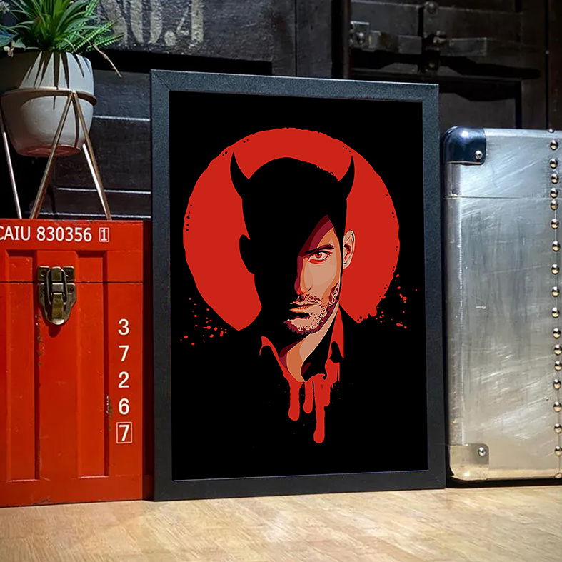 Quadro Com Moldura The Devil Lucifer Morningstar Netflix - 33x46 - EV