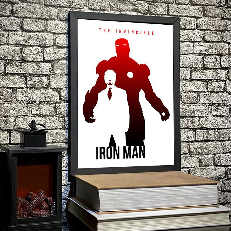Quadro Com Moldura The Invincible Iron Man Tony Stark Homem de Ferro Invencível Marvel Comics - 33x46