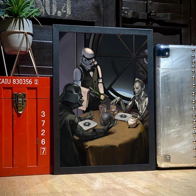 Quadro Com Moldura Uma Noite Calma Para Um Jantar Darth Vader Stormtrooper: Star Wars - 33x46 - EV
