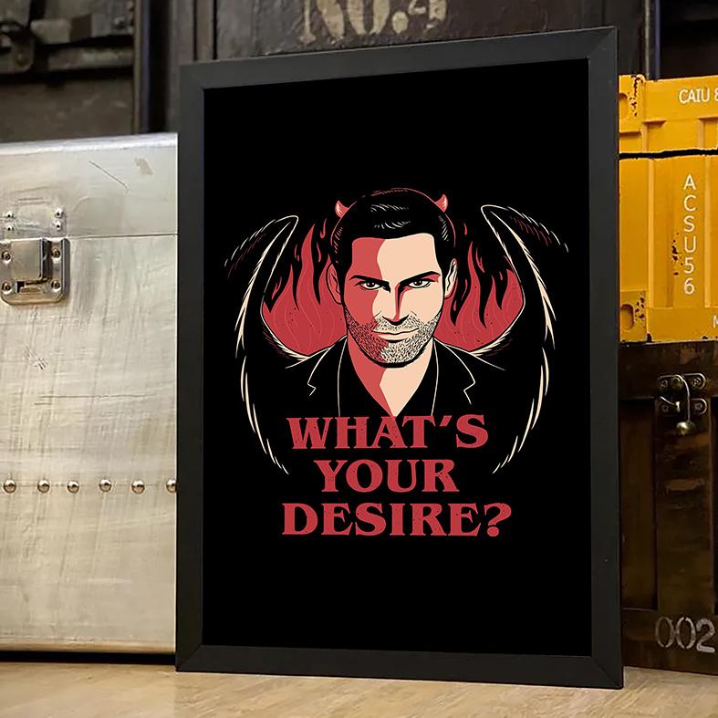Quadro Com Moldura Whats's Your Desire The Devil Lucifer Morningstar Qual É O Seu Desejo Netflix - 33x46 - EV