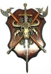 Quadro Decorativo Armas Medievais (Espada e Machado)