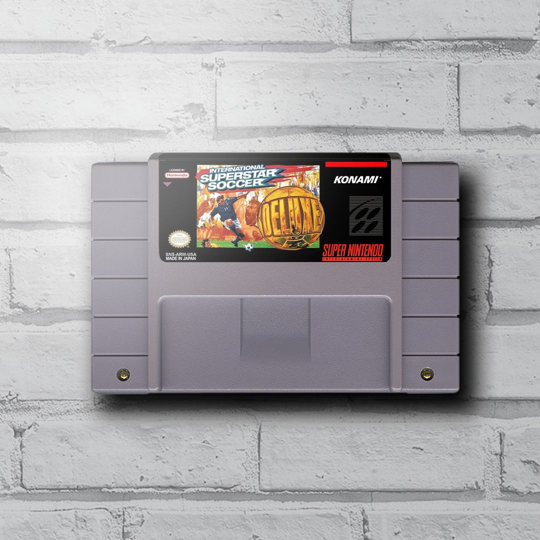 Cartucho Decorativo Super Nintendo - International Super Star Soccer Deluxe - Quadro 3D