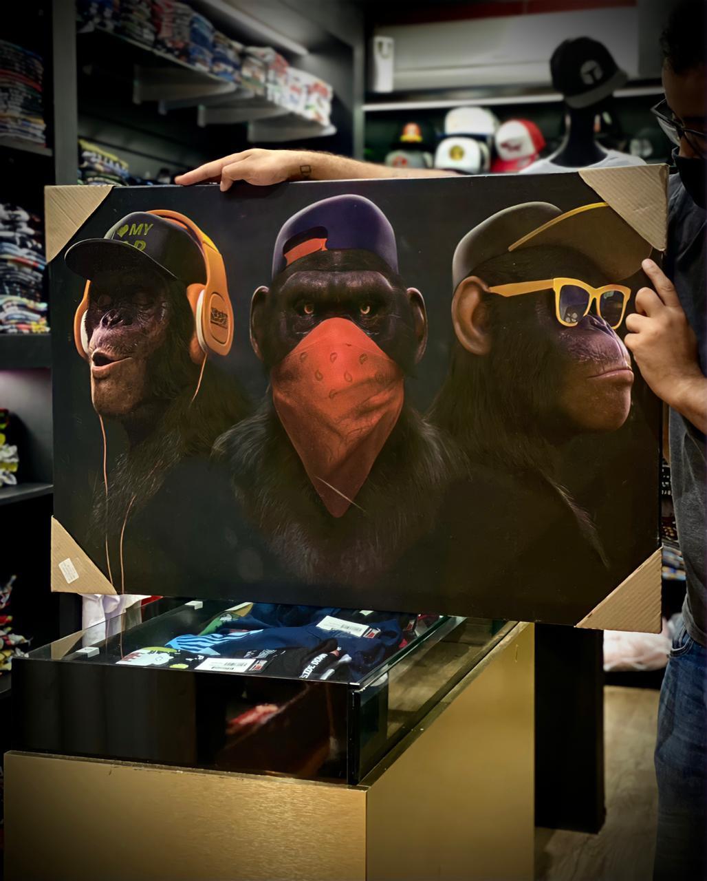 Quadro Gangue dos Macacos Sábios Gangster Não Vejo Não Ouço Não falo 60x90