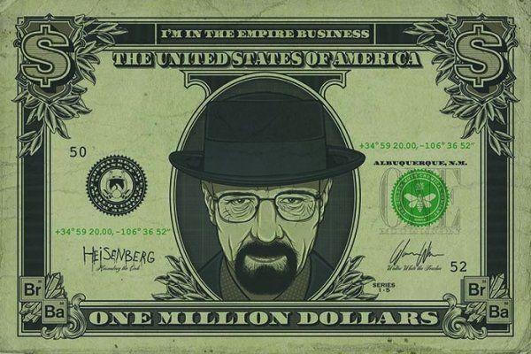 Quadro Heiseberg Dollar: Breaking Bad - Wall Stree