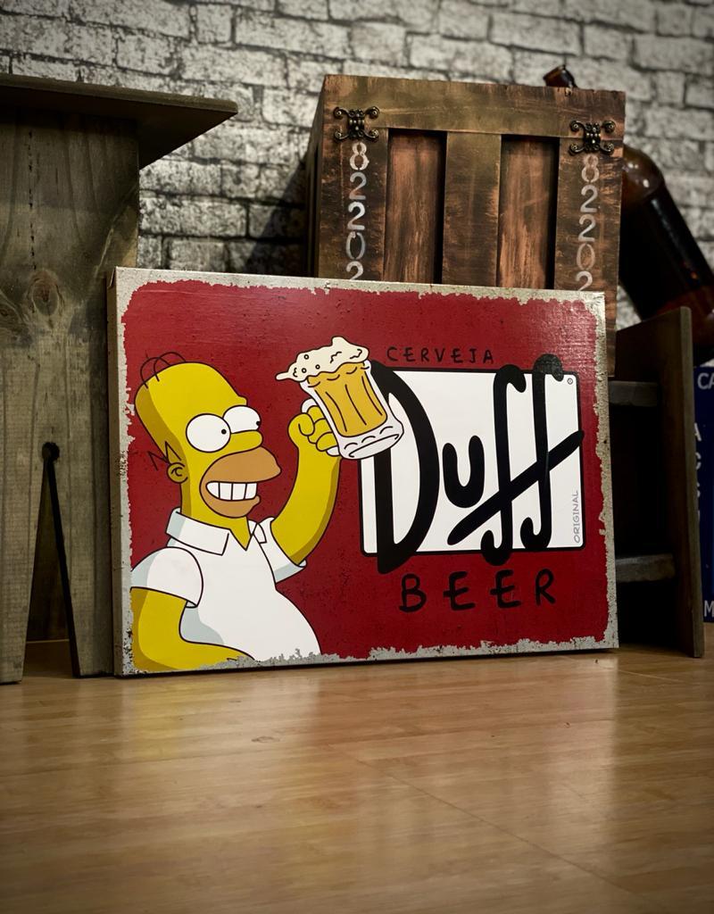 Quadro Metal 30x40cm Homer Duff Copo Cheio: Os Simpsons