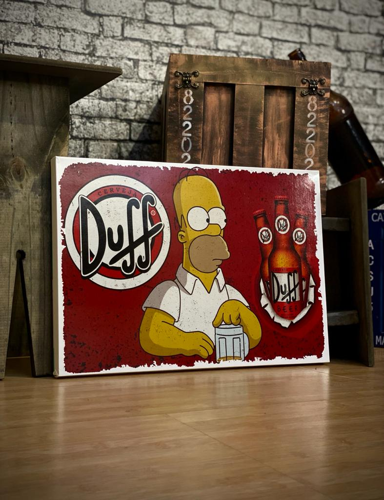 Quadro Metal Homer Duff Copo Vazio: Os Simpsons 30x40cm