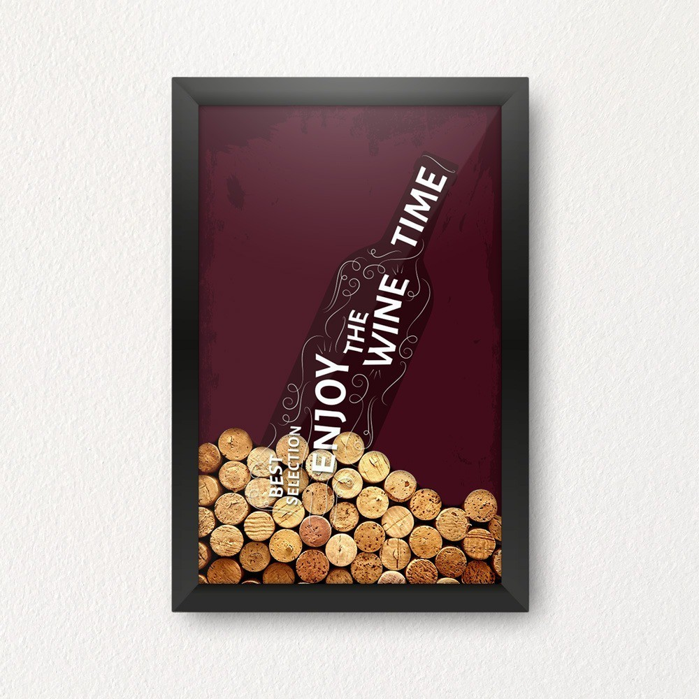"Quadro Porta Rolhas de Vinho ""Best Selection, Enjoy The Wine time"""